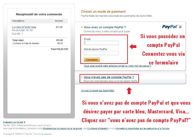 Paiement par carte bleue avec Paypal