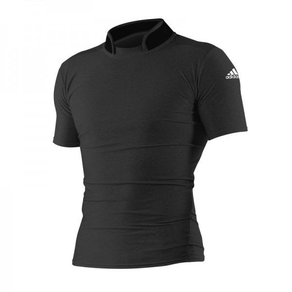 8e1a392af43 T-shirt en lycra Judo Adidas noir avec col haut   meilleure protection